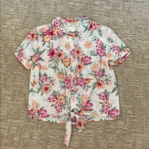 NWT floral tie front blouse size XS